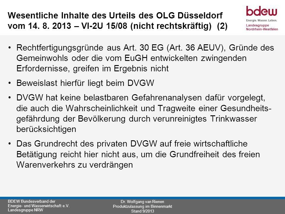 Wesentliche Inhalte des Urteils des OLG Düsseldorf vom 14. 8