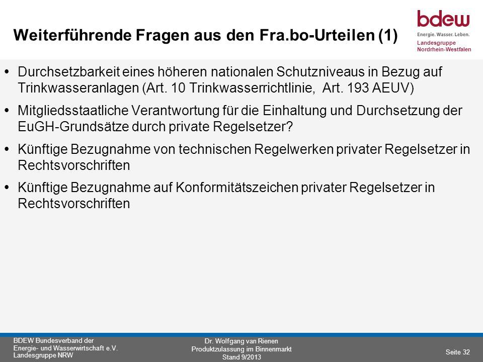 Weiterführende Fragen aus den Fra.bo-Urteilen (1)
