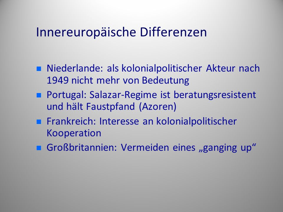 Innereuropäische Differenzen