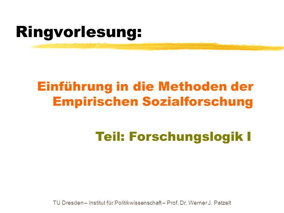 Ringvorlesung: Einführung in die Methoden der Empirischen Sozialforschung. Teil: Forschungslogik I.