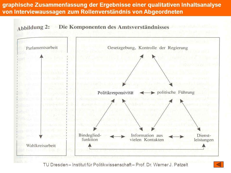 graphische Zusammenfassung der Ergebnisse einer qualitativen Inhaltsanalyse von Interviewaussagen zum Rollenverständnis von Abgeordneten