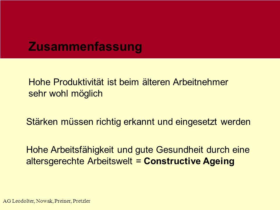 Zusammenfassung Hohe Produktivität ist beim älteren Arbeitnehmer sehr wohl möglich. Stärken müssen richtig erkannt und eingesetzt werden.