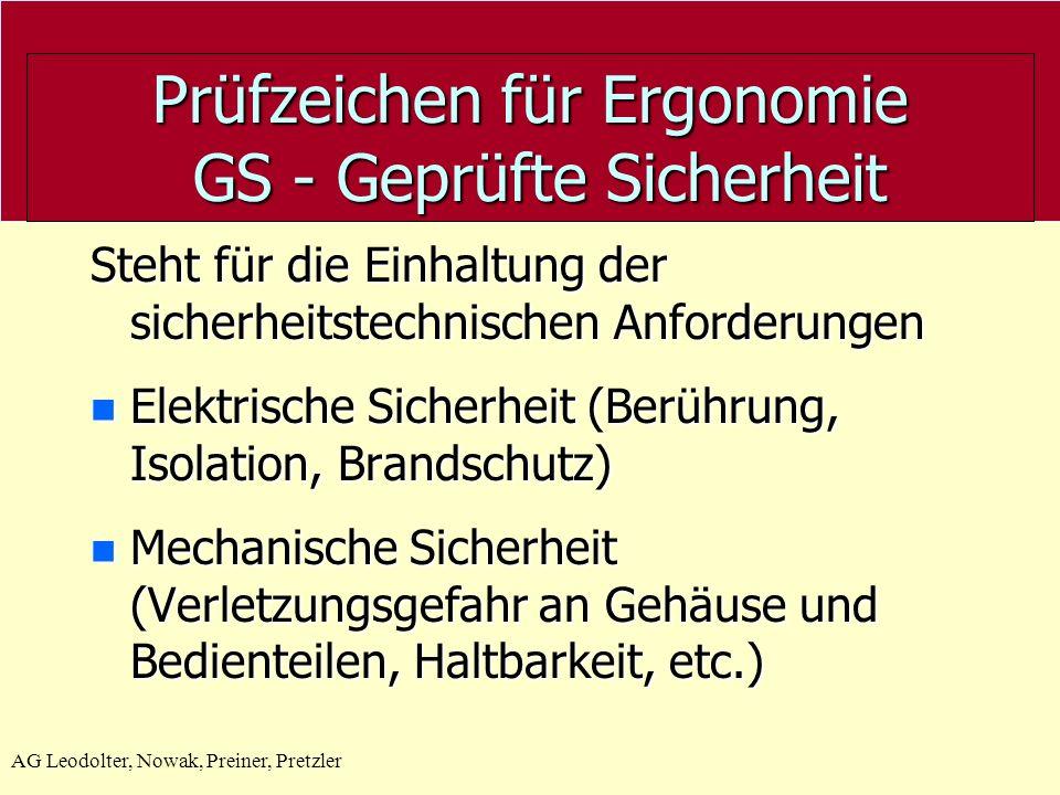Prüfzeichen für Ergonomie GS - Geprüfte Sicherheit