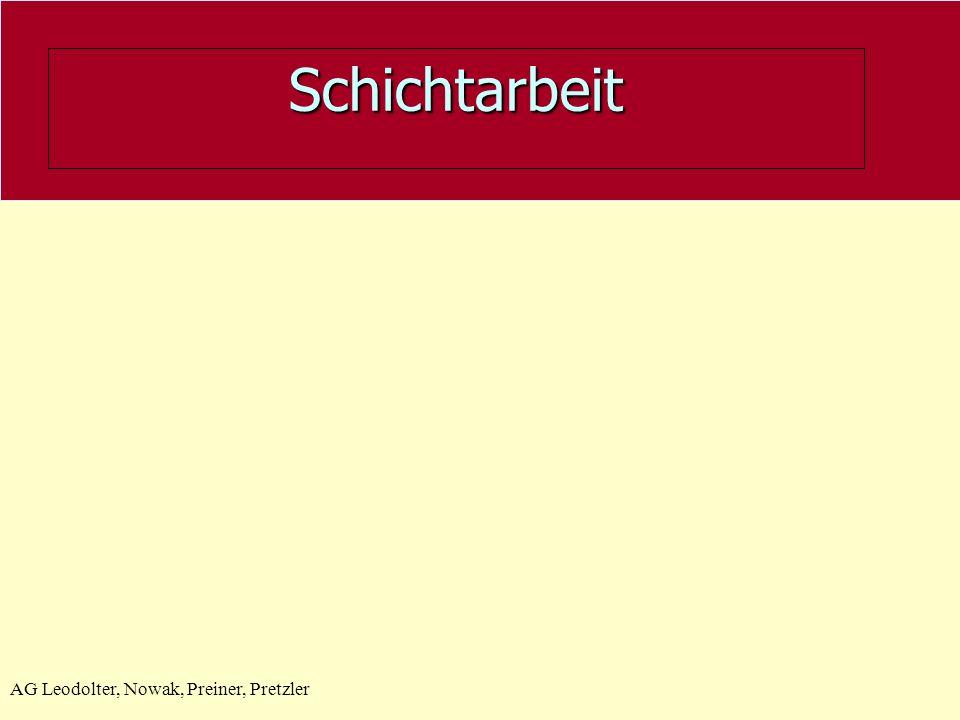 Schichtarbeit AG Leodolter, Nowak, Preiner, Pretzler