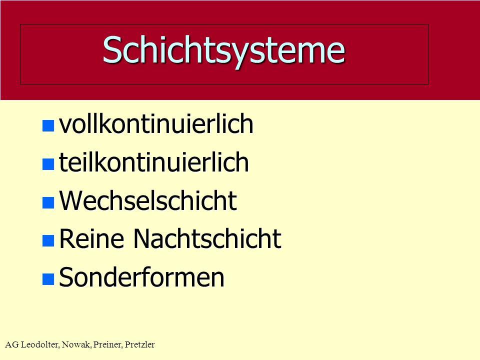 Schichtsysteme vollkontinuierlich teilkontinuierlich Wechselschicht