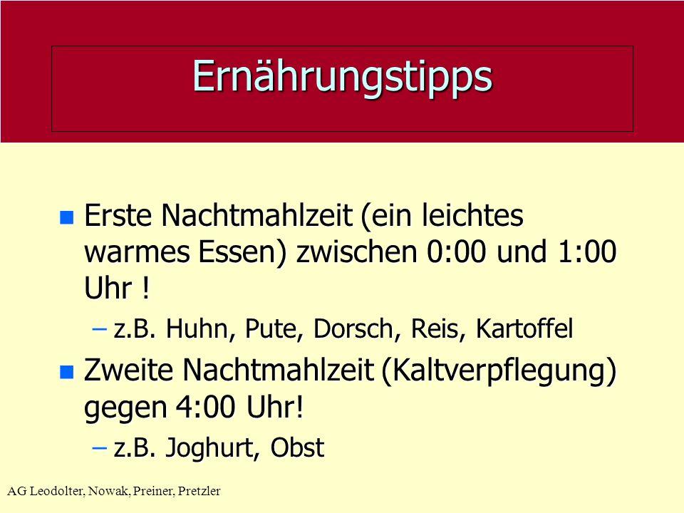 Ernährungstipps Erste Nachtmahlzeit (ein leichtes warmes Essen) zwischen 0:00 und 1:00 Uhr ! z.B. Huhn, Pute, Dorsch, Reis, Kartoffel.