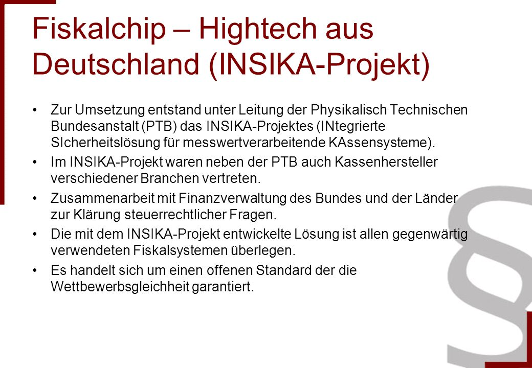 Fiskalchip – Hightech aus Deutschland (INSIKA-Projekt)