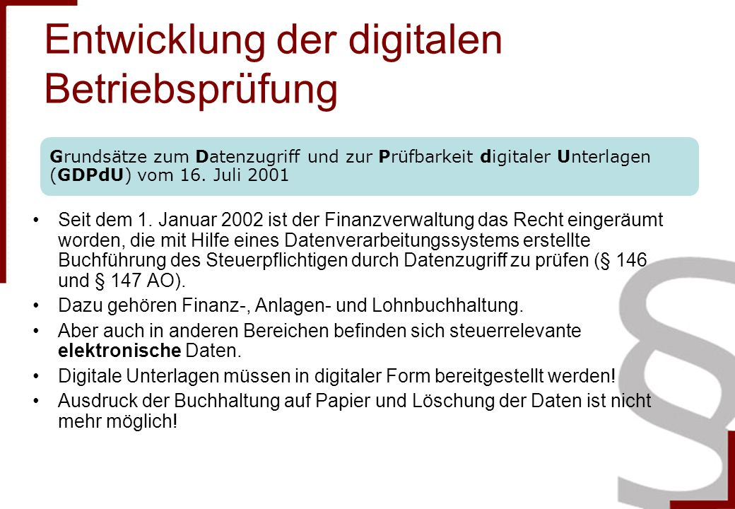Entwicklung der digitalen Betriebsprüfung