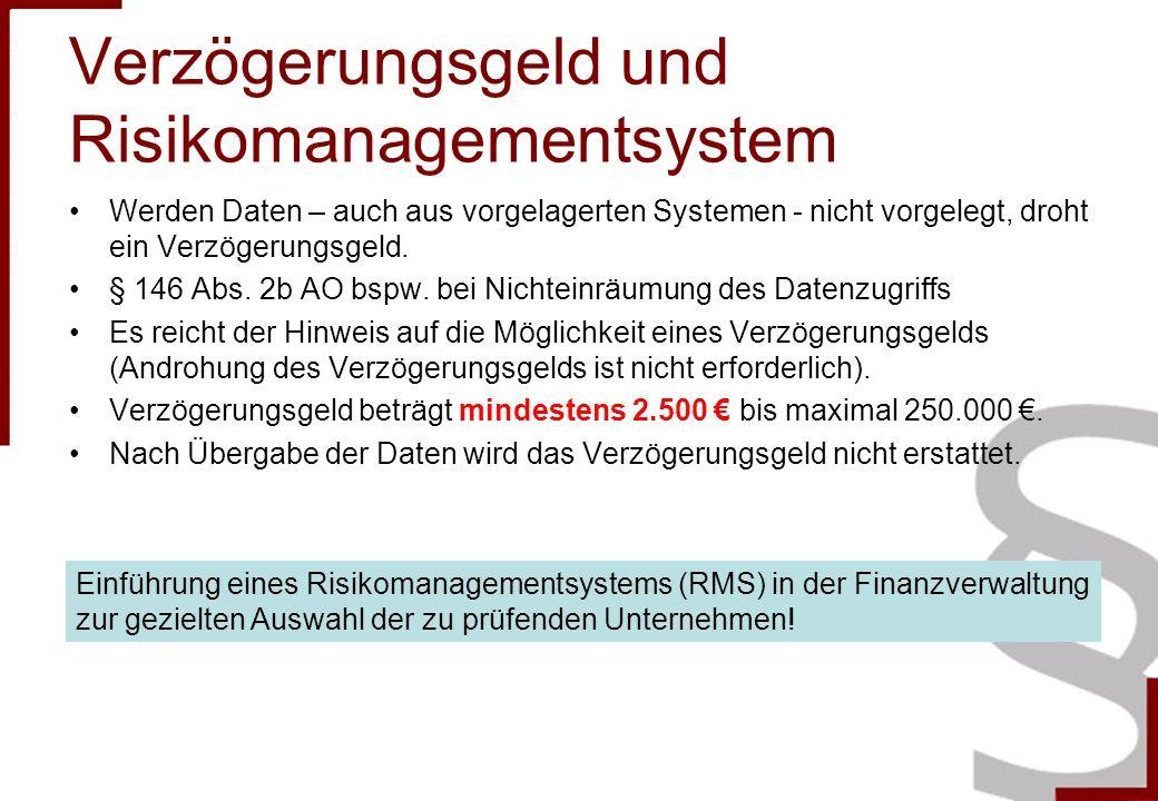 Verzögerungsgeld und Risikomanagementsystem