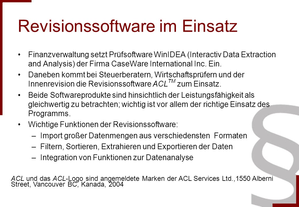 Revisionssoftware im Einsatz