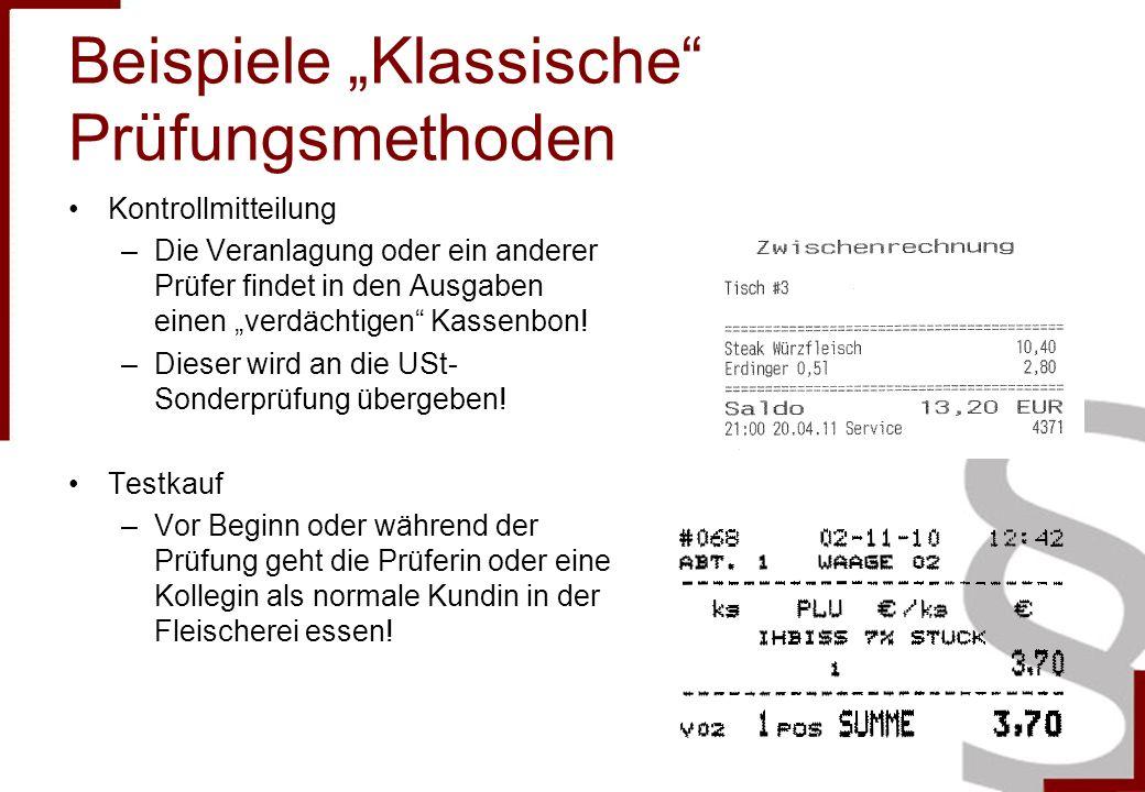 """Beispiele """"Klassische Prüfungsmethoden"""