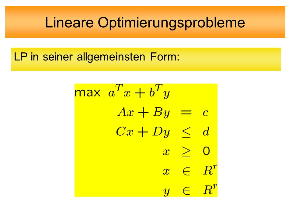 Lineare Optimierungsprobleme
