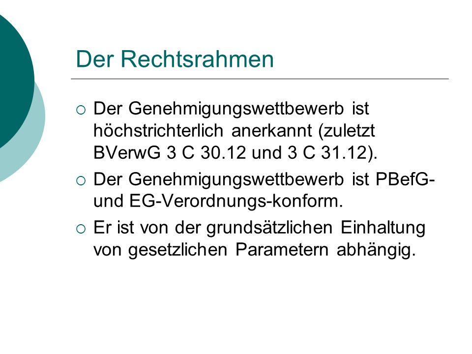 Der Rechtsrahmen Der Genehmigungswettbewerb ist höchstrichterlich anerkannt (zuletzt BVerwG 3 C 30.12 und 3 C 31.12).
