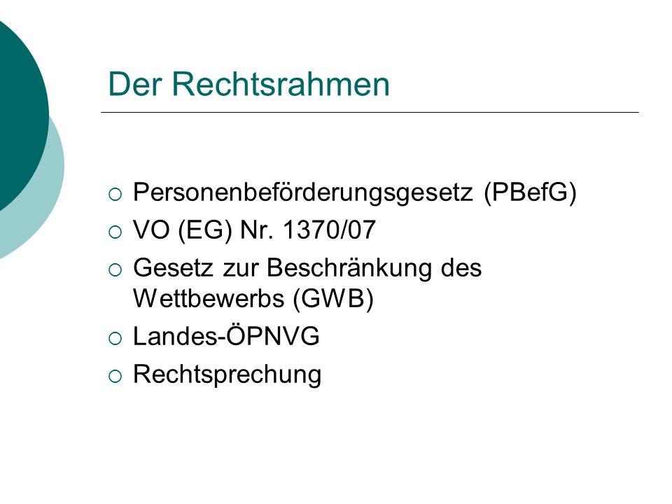 Der Rechtsrahmen Personenbeförderungsgesetz (PBefG)