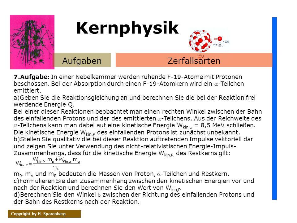 Kernphysik Aufgaben Zerfallsarten