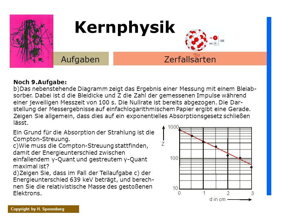 Kernphysik Aufgaben Zerfallsarten Noch 9.Aufgabe: