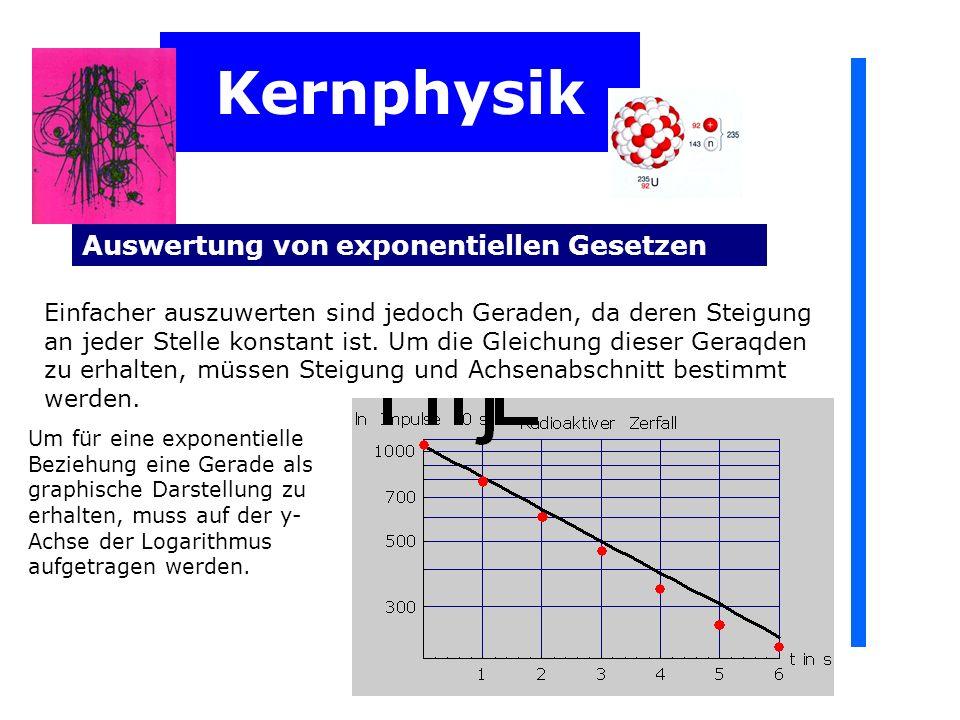 Kernphysik Auswertung von exponentiellen Gesetzen