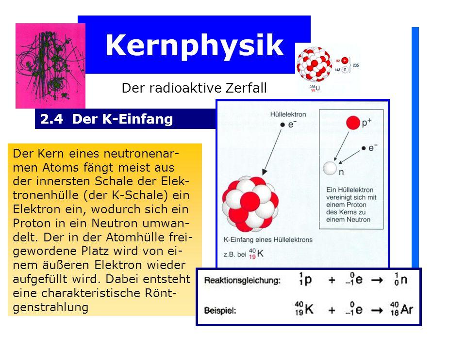 Kernphysik Der radioaktive Zerfall 2.4 Der K-Einfang