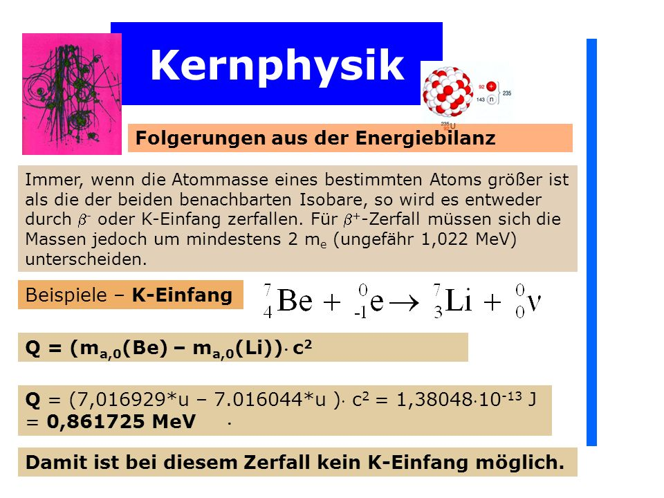 Kernphysik Folgerungen aus der Energiebilanz Beispiele – K-Einfang
