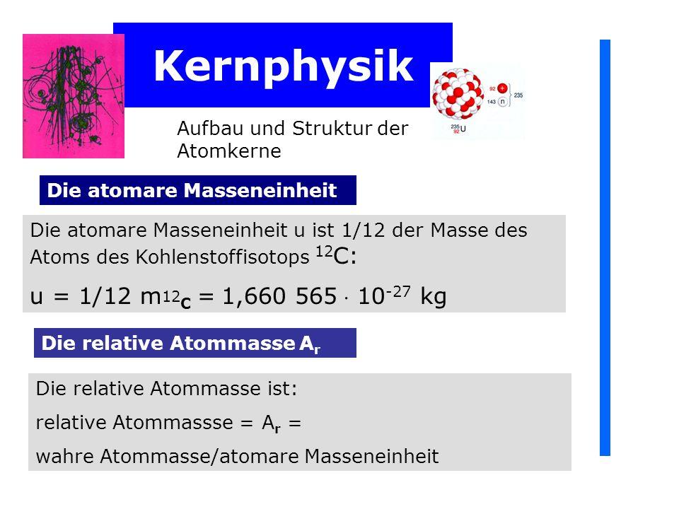 Kernphysik u = 1/12 m12C = 1,660 565  10-27 kg