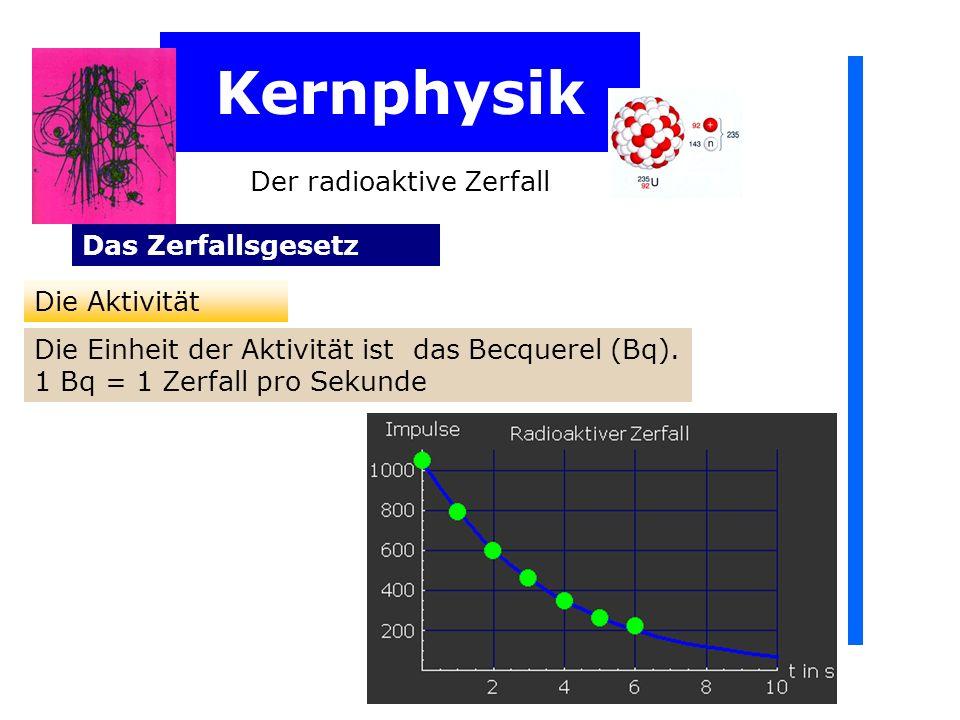 Kernphysik Der radioaktive Zerfall Das Zerfallsgesetz Die Aktivität