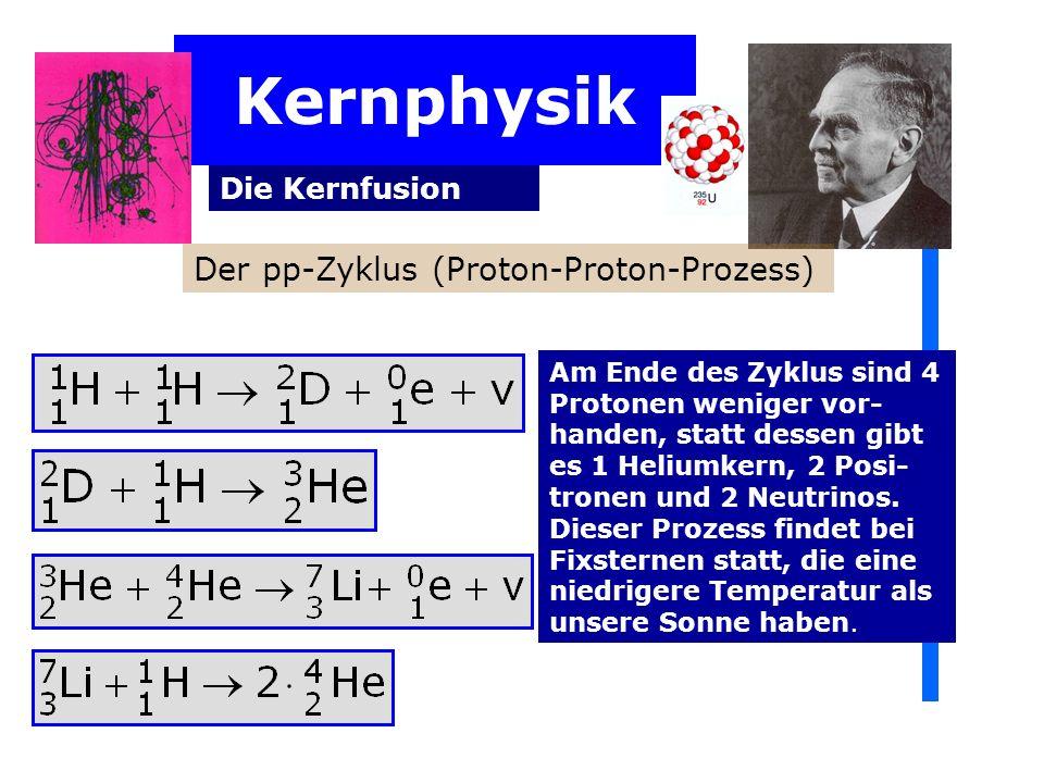 Kernphysik Der pp-Zyklus (Proton-Proton-Prozess) Die Kernfusion