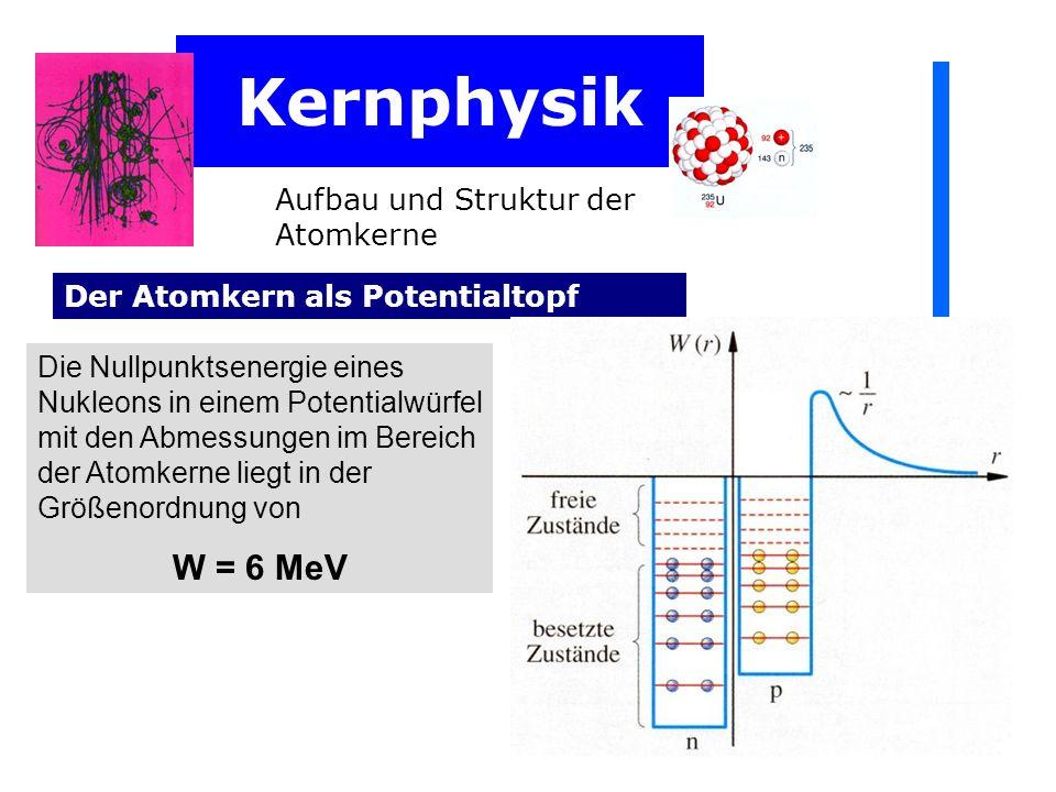 Kernphysik W = 6 MeV Aufbau und Struktur der Atomkerne