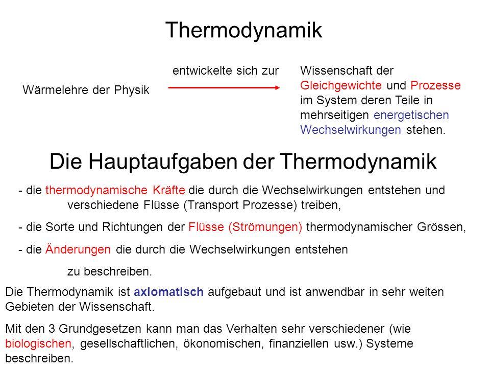 Die Hauptaufgaben der Thermodynamik
