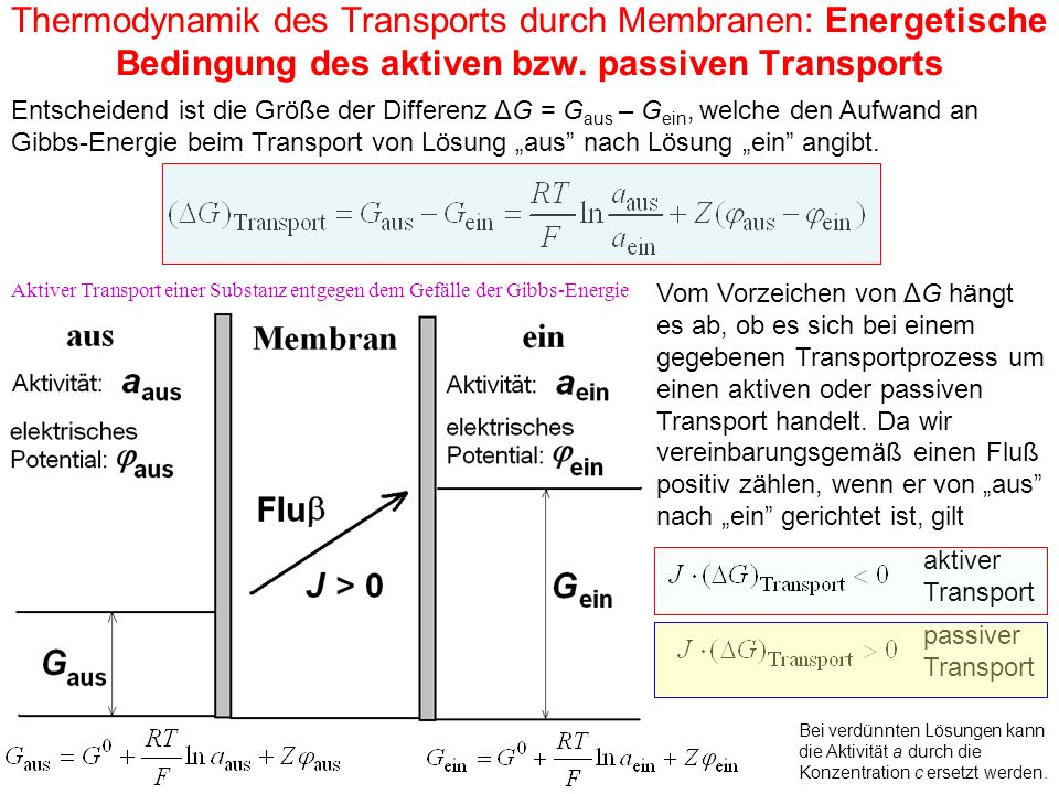 Thermodynamik des Transports durch Membranen: Energetische Bedingung des aktiven bzw. passiven Transports