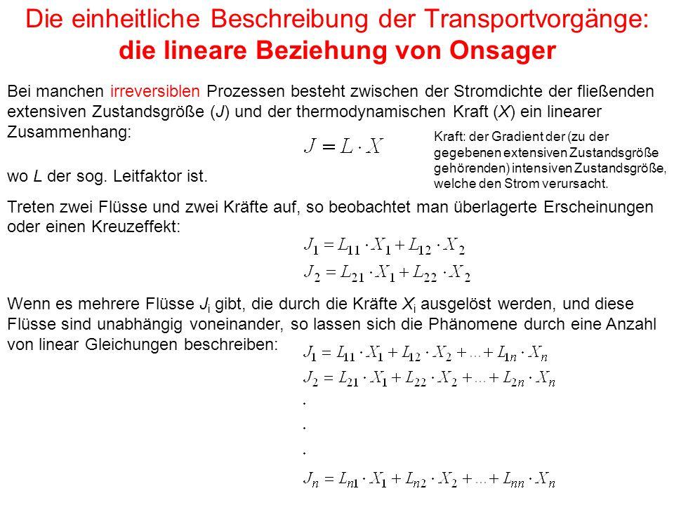 Die einheitliche Beschreibung der Transportvorgänge: die lineare Beziehung von Onsager
