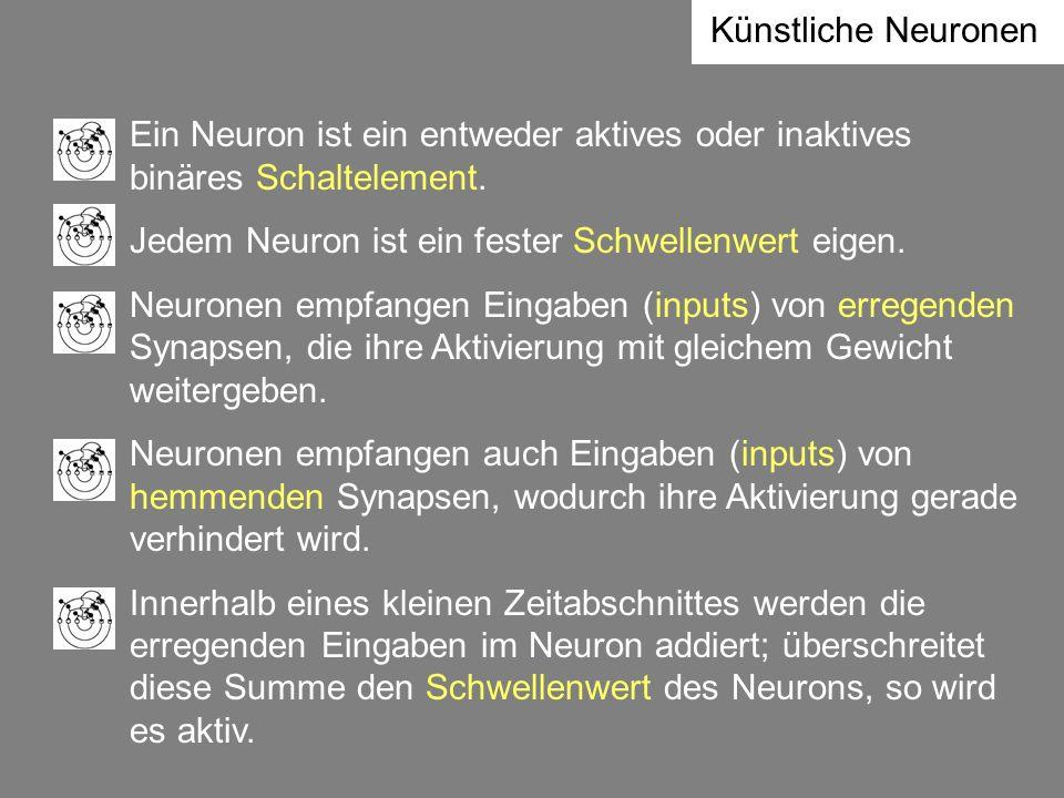 Künstliche Neuronen Ein Neuron ist ein entweder aktives oder inaktives binäres Schaltelement. Jedem Neuron ist ein fester Schwellenwert eigen.