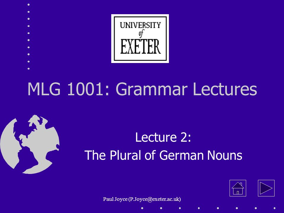 Lecture 2: The Plural of German Nouns