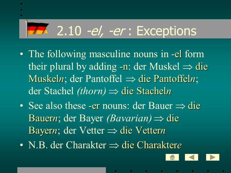 2.10 -el, -er : Exceptions