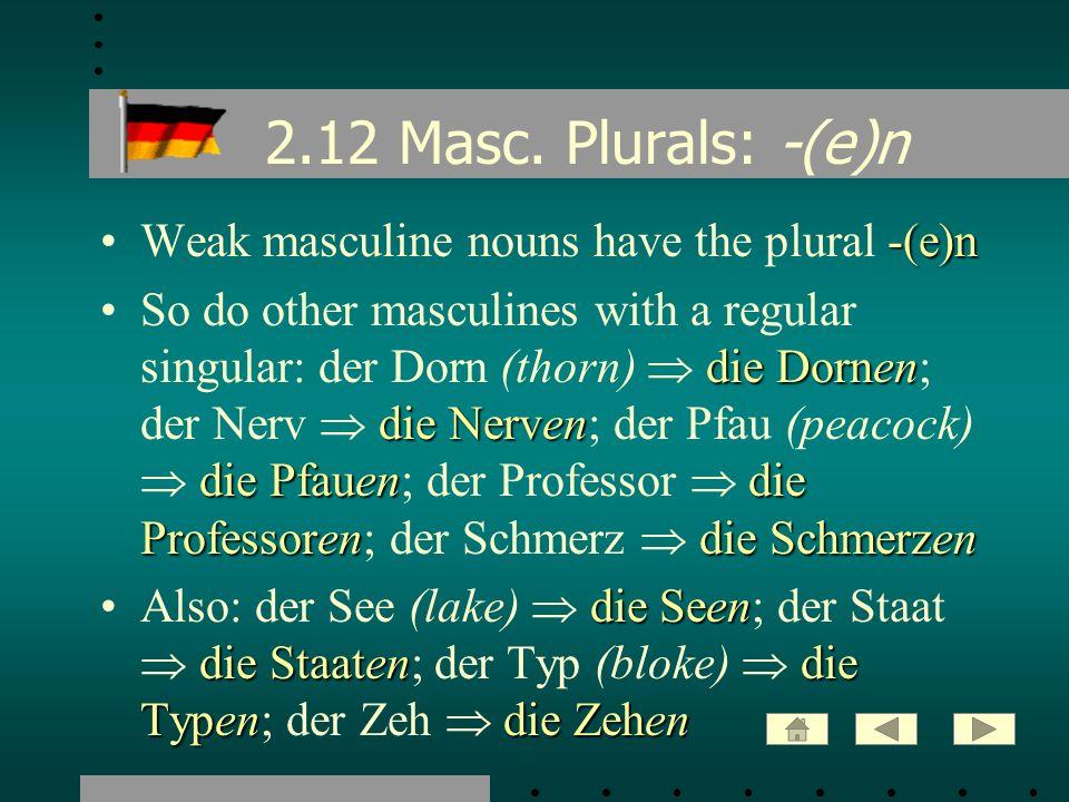 2.12 Masc. Plurals: -(e)n Weak masculine nouns have the plural -(e)n