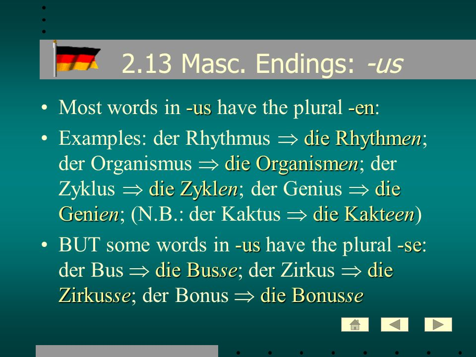 2.13 Masc. Endings: -us Most words in -us have the plural -en: