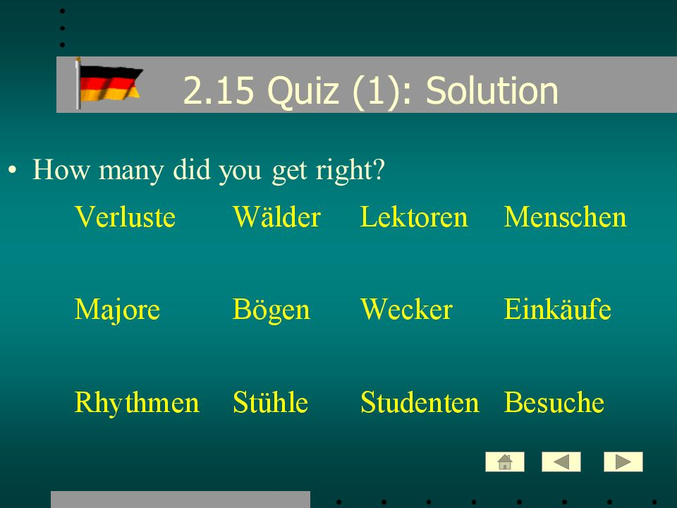 2.15 Quiz (1): Solution How many did you get right