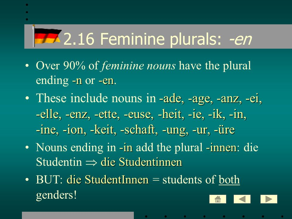 2.16 Feminine plurals: -en Over 90% of feminine nouns have the plural ending -n or -en.