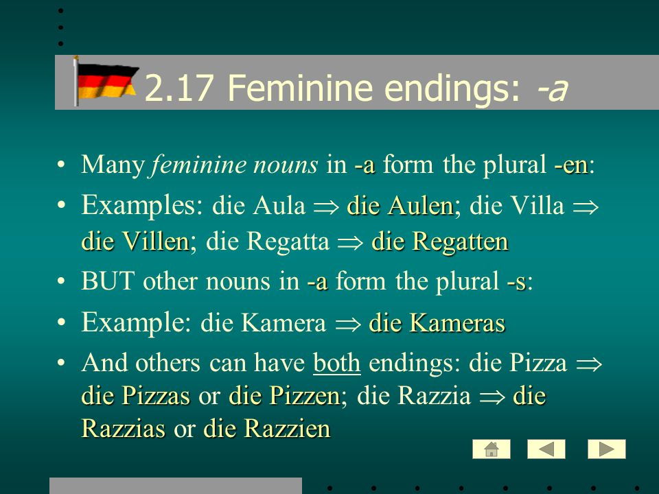 2.17 Feminine endings: -a Many feminine nouns in -a form the plural -en: