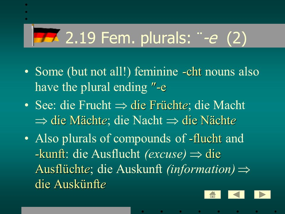2.19 Fem. plurals: ¨-e (2) Some (but not all!) feminine -cht nouns also have the plural ending -e.
