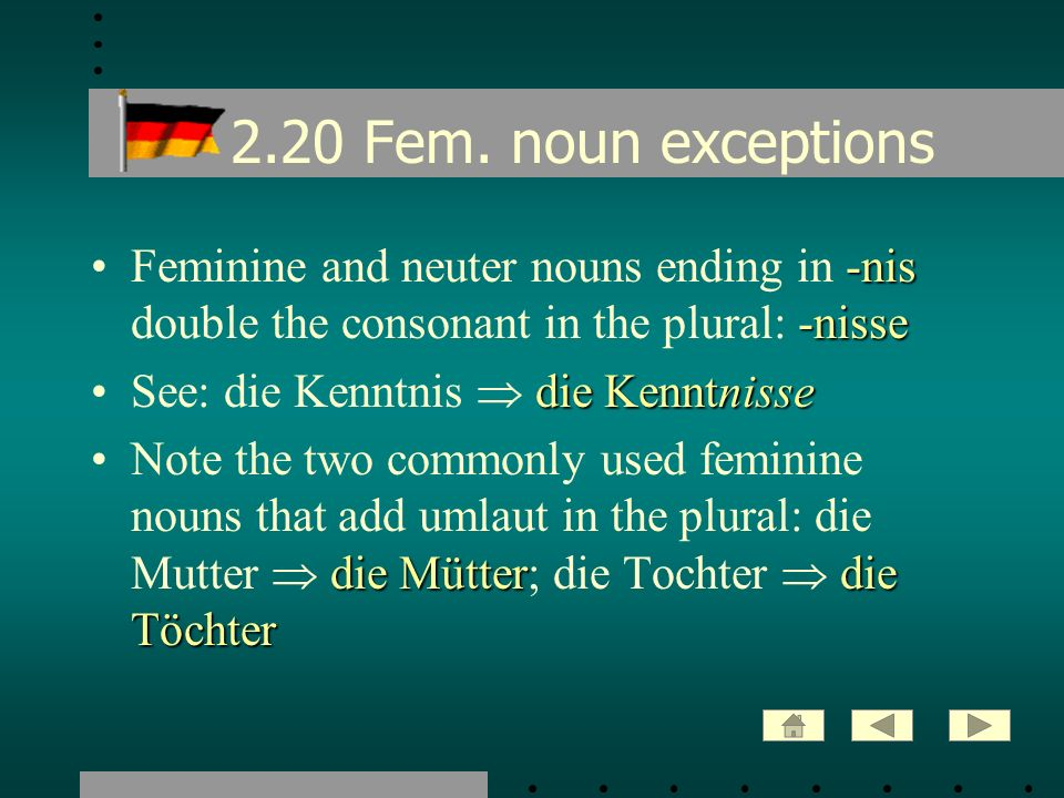 2.20 Fem. noun exceptions Feminine and neuter nouns ending in -nis double the consonant in the plural: -nisse.