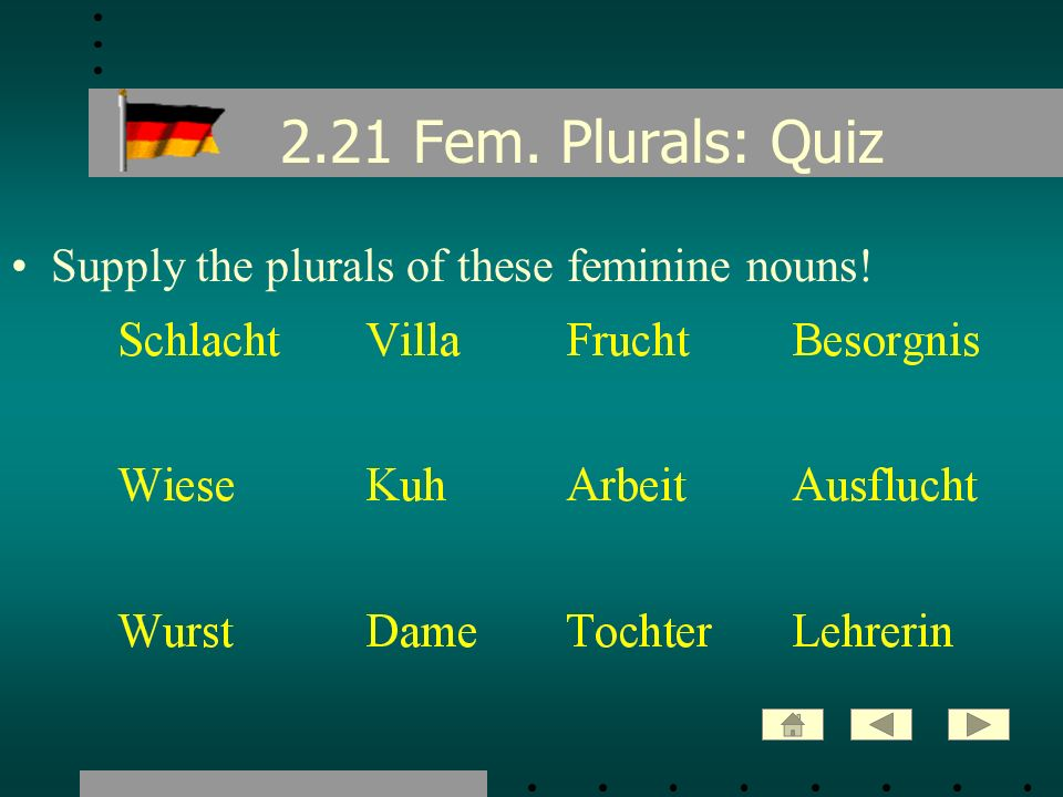 2.21 Fem. Plurals: Quiz Supply the plurals of these feminine nouns!