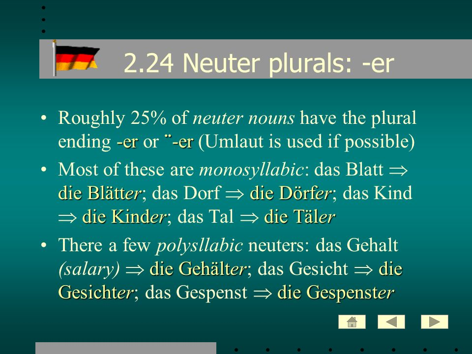 2.24 Neuter plurals: -er Roughly 25% of neuter nouns have the plural ending -er or ¨-er (Umlaut is used if possible)