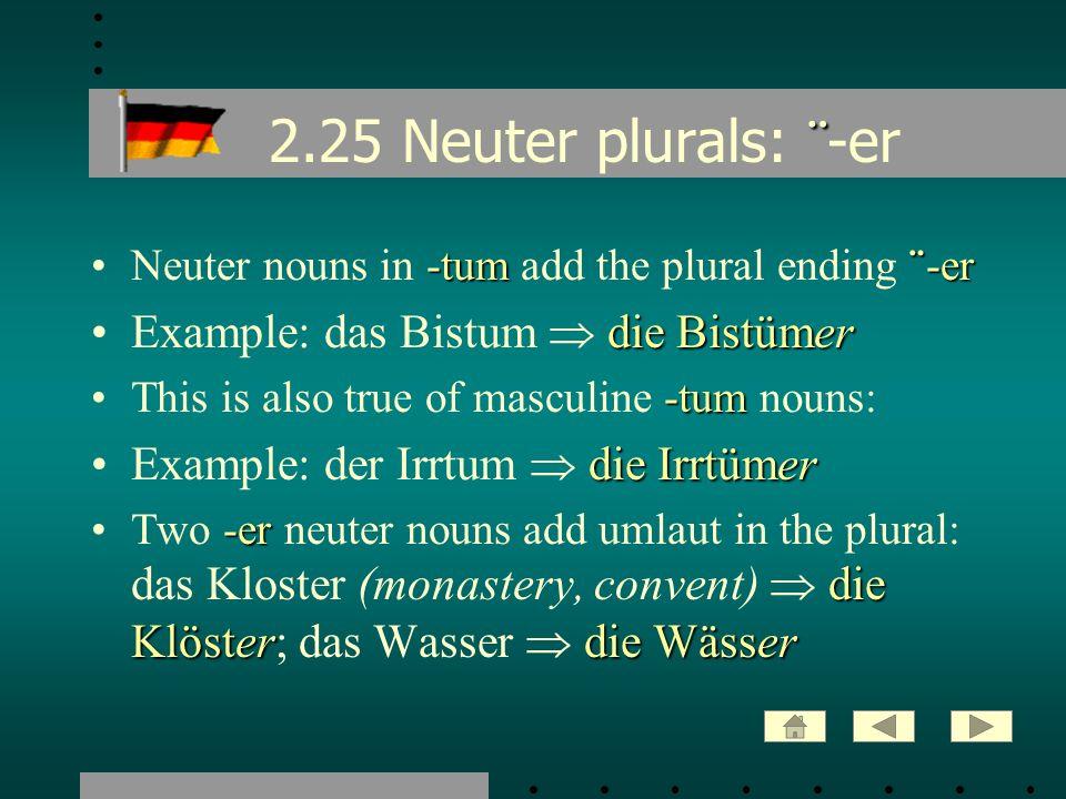2.25 Neuter plurals: ¨-er Example: das Bistum  die Bistümer