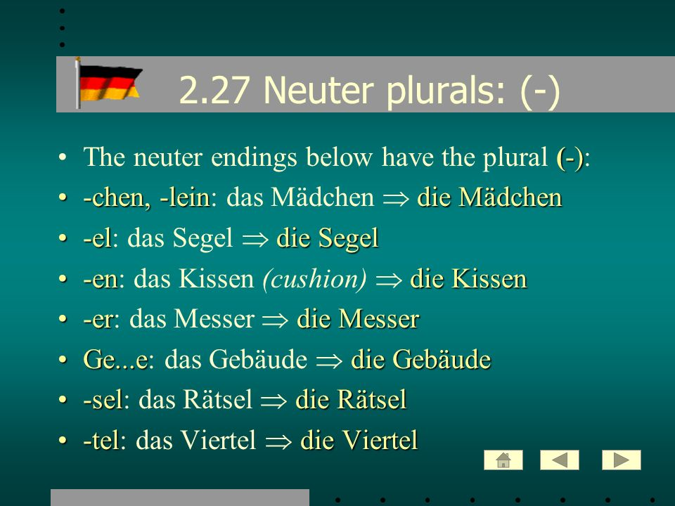 2.27 Neuter plurals: (-) The neuter endings below have the plural (-):