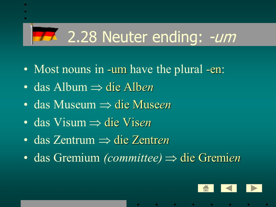 2.28 Neuter ending: -um Most nouns in -um have the plural -en: