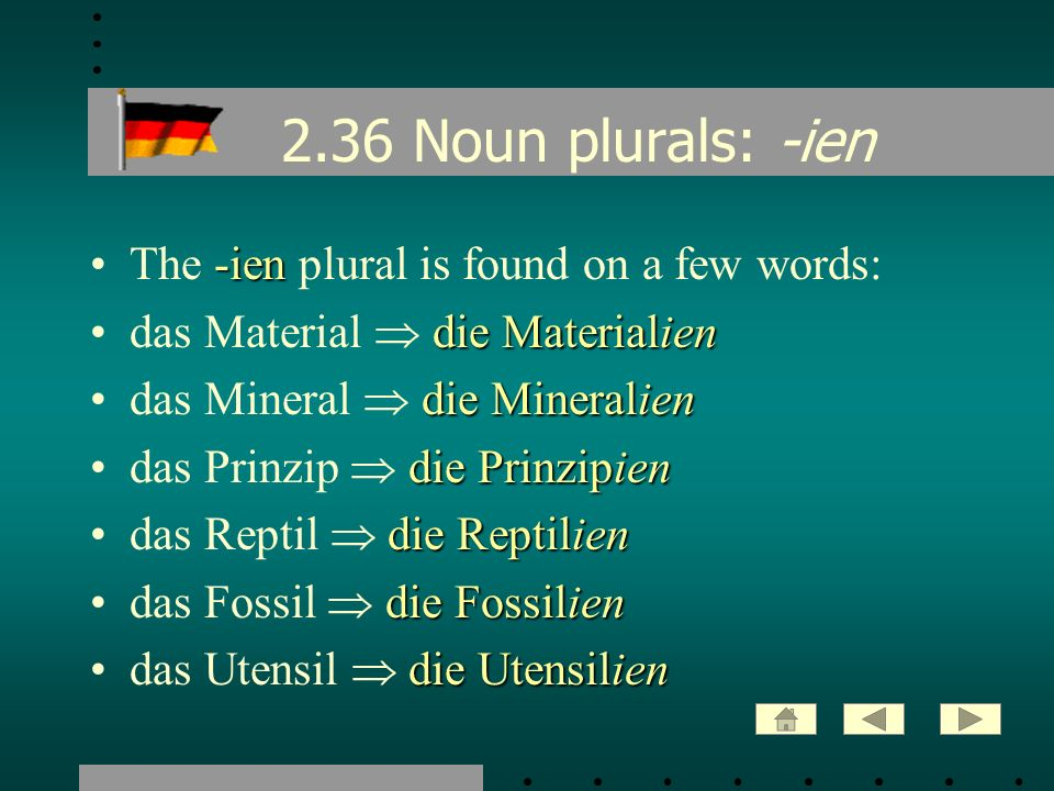 2.36 Noun plurals: -ien The -ien plural is found on a few words: