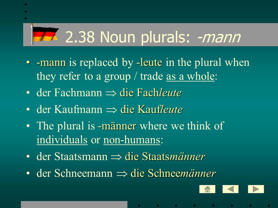 2.38 Noun plurals: -mann -mann is replaced by -leute in the plural when they refer to a group / trade as a whole: