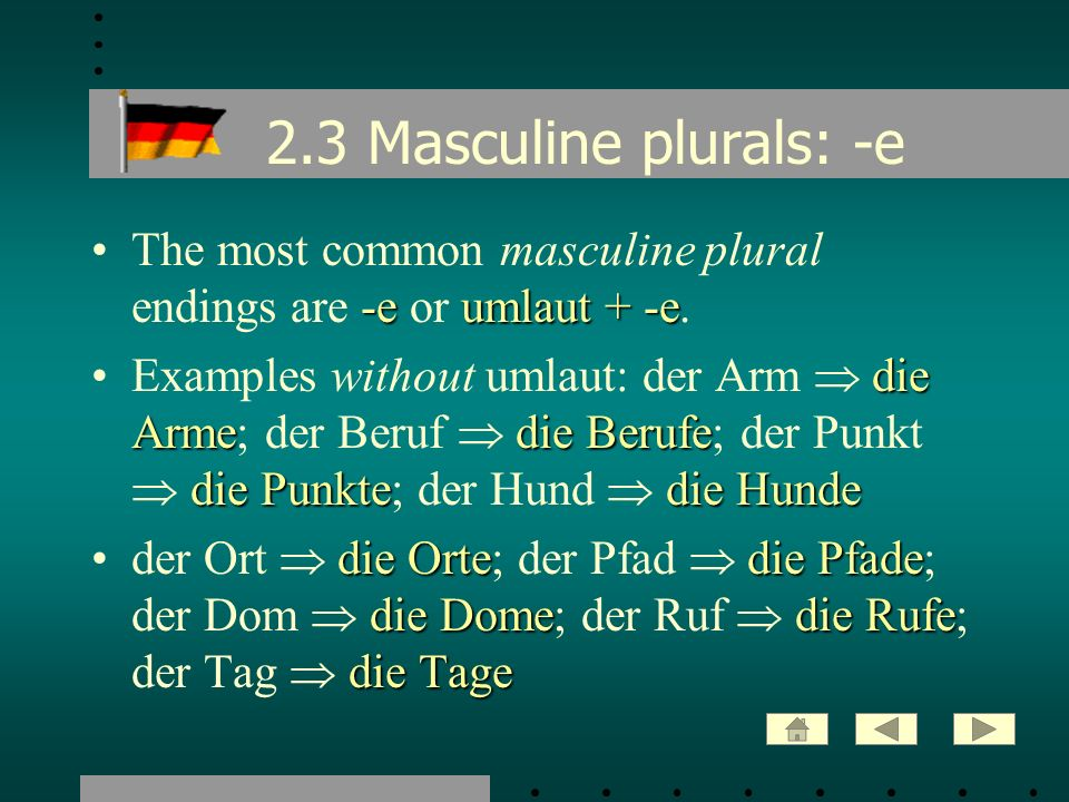 2.3 Masculine plurals: -e The most common masculine plural endings are -e or umlaut + -e.