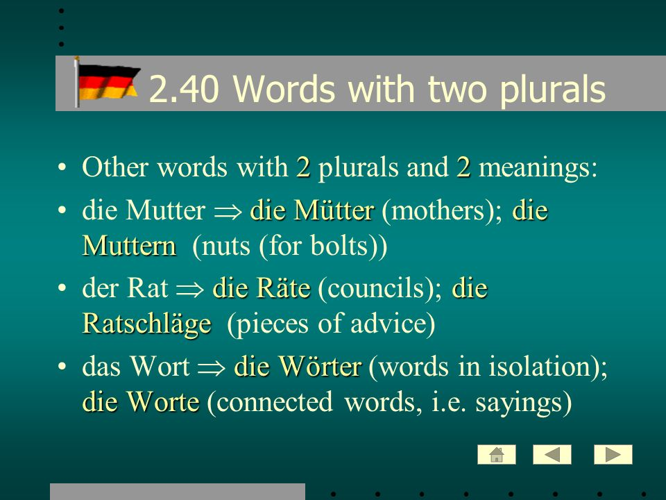 2.40 Words with two plurals Other words with 2 plurals and 2 meanings: