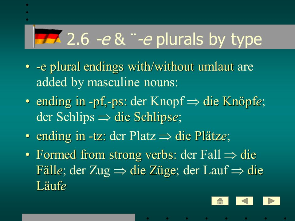 2.6 -e & ¨-e plurals by type -e plural endings with/without umlaut are added by masculine nouns: